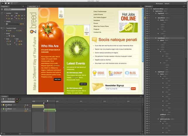 Adobe's Edge Tool interface preview